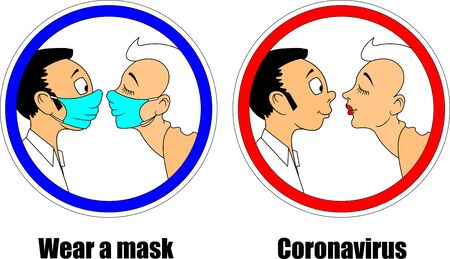 Two peoples with mask on. Concept of pandemic covid-19 or coronavirus. Flat style illustration