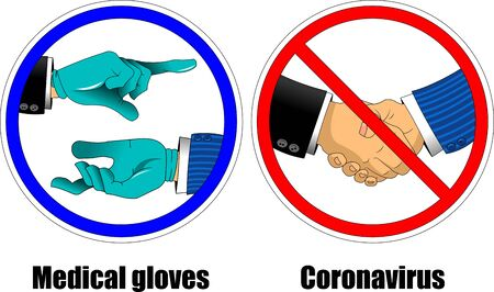 Blue medical gloves on hand. Personal protective equipment. Vector illustration in flat style