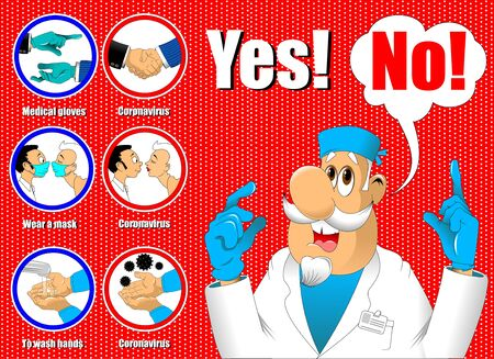 Doctor in a white coat on a background of a poster, vector and illustration