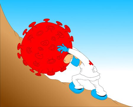 Doctor in a white coat pushes a coronavirus stone to a high mountain, vector