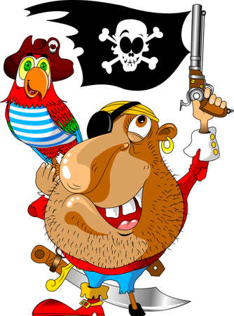 scary and evil pirate with a parrot on his shoulder and a gun in his hand Illusztráció