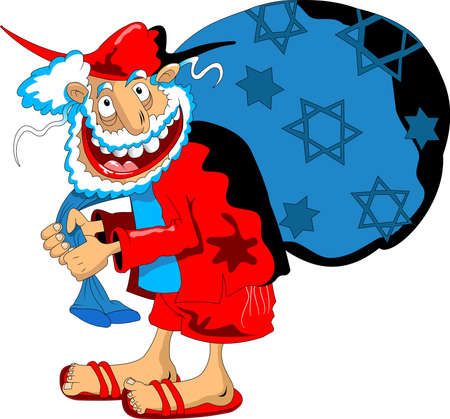 merry santa claus in red suit with blue gift bag, vector Illusztráció