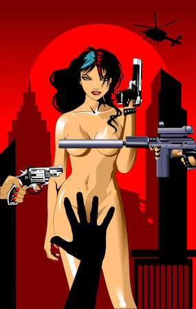 vector illustration of a beautiful woman holding a gun