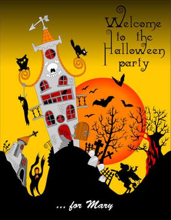 Halloween vector illustration. Halloween party invitation. Old haunted house Illusztráció