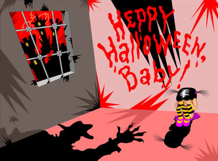 Halloween vector illustration. Halloween party invitation. Old haunted house 向量圖像