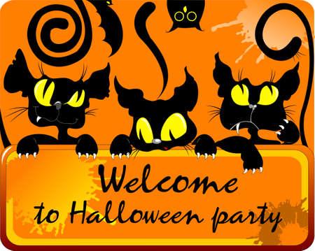 Halloween vector illustration. Three black cats invite friends to Halloween party.