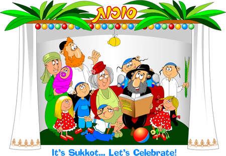 Happy Sukkot inscription on Hebrew with family people characters celebrating Sukkot Holiday