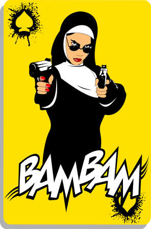 nun in black robe with black pistol, vector and illustration