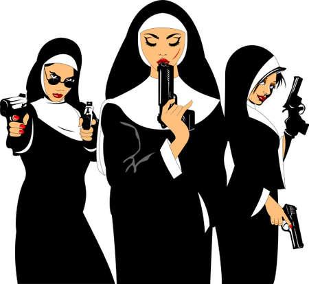 Three beautiful nuns with black gun, vector and illustration