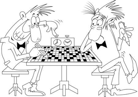 Two men solve a difficult crossword puzzle. Vector and illustrations