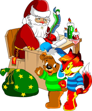 Illustration for Christmas and New Year. Santa Claus. Bag with gifts. Vector Ilustração
