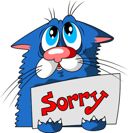 Cute blue Cat Holding A Message Board With The Text I'm Sorry. Hand drawn Inspirational And Encouraging Quote. Vector Isolated Typography Design Element