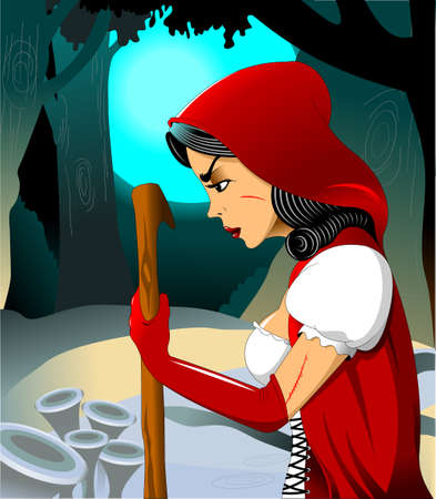 A girl in a white dress and a red cloak walks at night in the forest