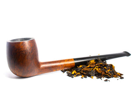 Smoking briar pipe with tobacco on a white background