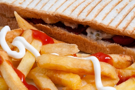 toasted sandwich: Toasted Sandwich with Potatoes Stock Photo