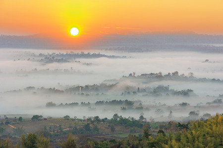 Sunrise in mountains over the foggy in the morning in Khao Kho Phetchabun