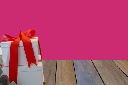 gift box on blue background. New year and Valentine day 스톡 콘텐츠