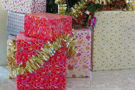 Gift boxes on floor,New year and Valentine gift