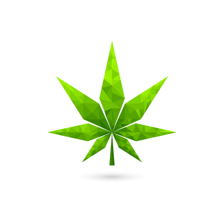 low poly cannabis icon, green leaf geometric vector design
