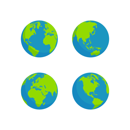 globe set geïsoleerde witte achtergrond, vlakke stijl ontwerp