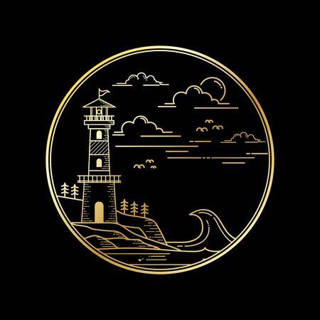 Illustration logo lighthouse outline style isolated black background