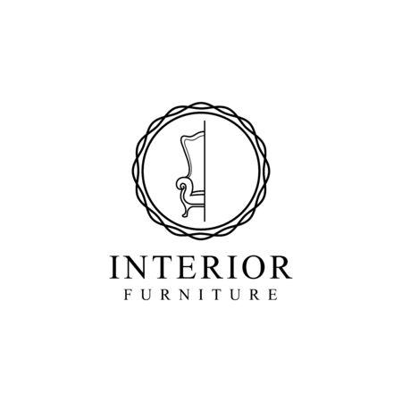 simple interior design furniture isolated white background Illustration