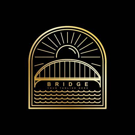 Bridge logo design and sun line art style