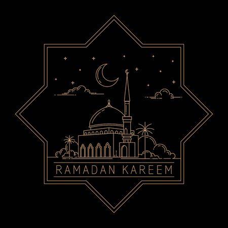 ramadan kareem mono line style design concept isolated black background