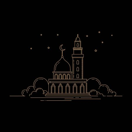 Modern line art mosque isolated black background vector template