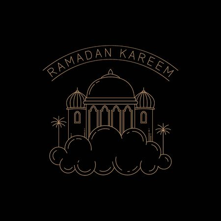 mosque design on clouds isolated black background vector illustration