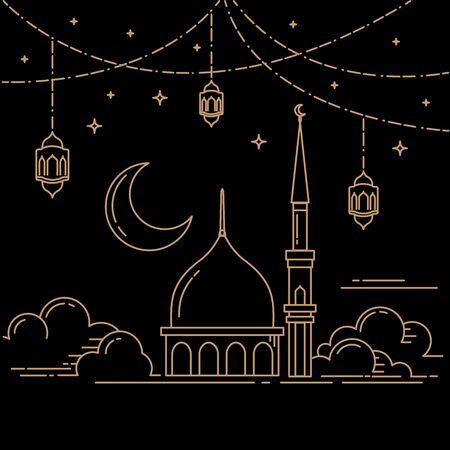ramadan celebration mono line style design isolated black background