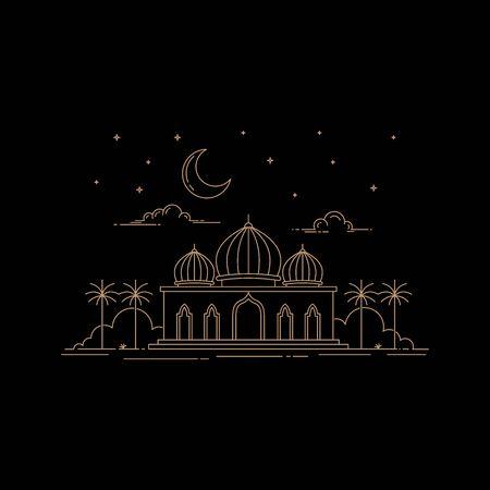 illustration of mosque building line art style design