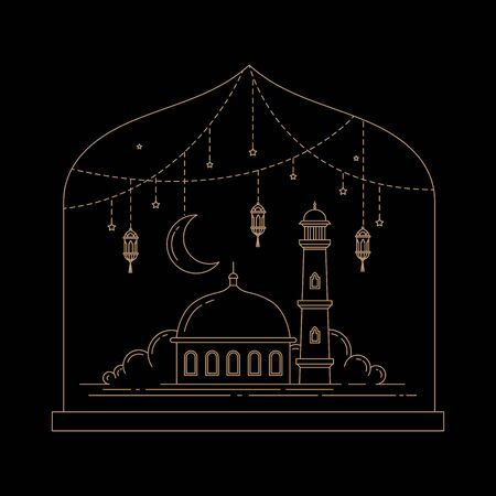 mosque vector design line style art of Islamic celebration