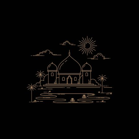 illustration of mosque design mono line style isolated black background Иллюстрация