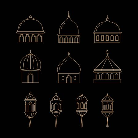 Mosque domes and lanterns set in isolated black backgrounds