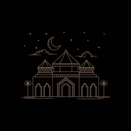 Modern mosque style line art isolated black background  イラスト・ベクター素材