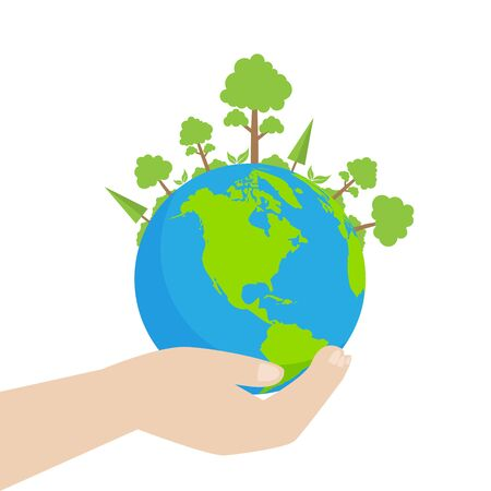 design vector illustration of the environment with hands and globe