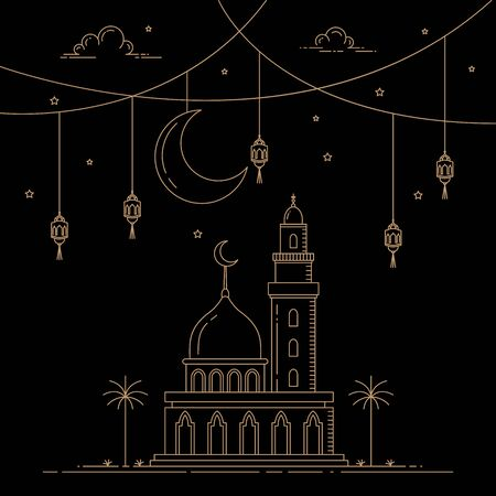 celebrations in the month of Ramadan with decorative lantern lights and mono line style mosques, vector illustration