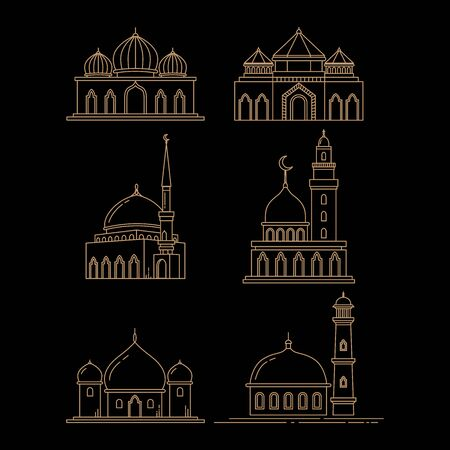 mosque line art icon set, vector template isolated black background
