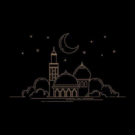 mosque line art isolated black background vector template  イラスト・ベクター素材