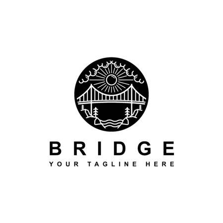 Silueta de puente al aire libre con logo simple