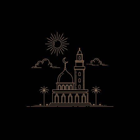 illustration of mosque design mono line style isolated black background  イラスト・ベクター素材