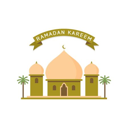 flat style design of mosque buildings isolated white background Illustration