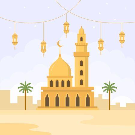 illustration of Ramadan celebrations, with mosque symbols and lanterns Illustration