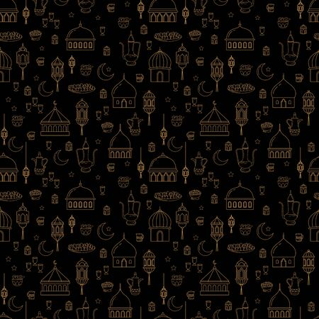 seamless pattern of line art style, the theme of Eid al-Fitr celebration food Illustration