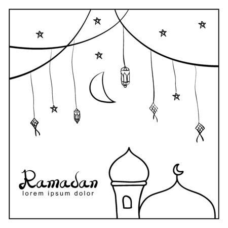 Ramadan celebration, doodle style design