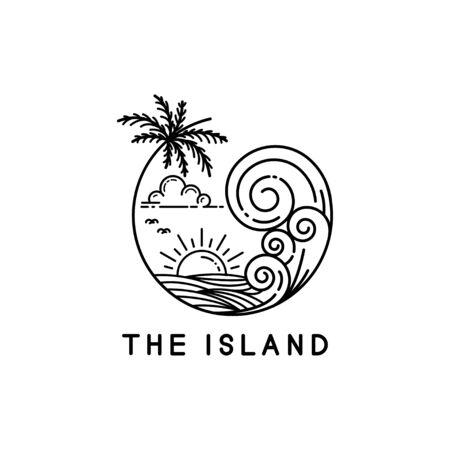 Strandwellen auf tropischen Inseln, Line Art Style Design