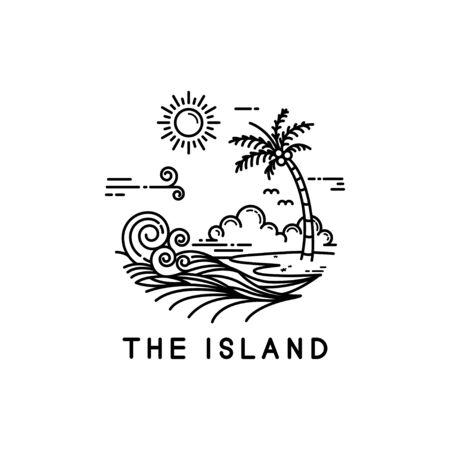 beach on a tropical island, line art style design