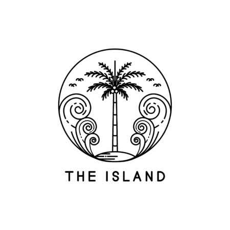 Palm trees on tropical islands, line art style designs Illustration