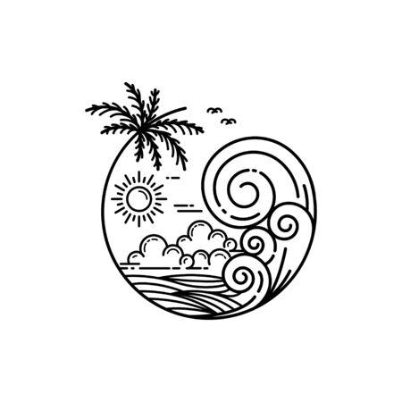 summer on tropical island, line art style design